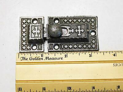 Antique Cupboard Cabinet Latch in Decorative Cast Iron 1880's, Marked R & E Co.