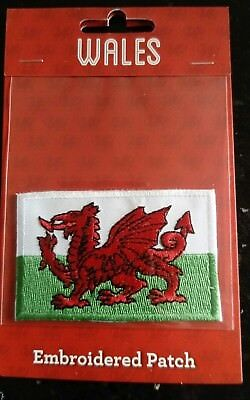 Wales Embroidered Patch Welsh Dragon Flag Iron on Badge Brand New in Packaging