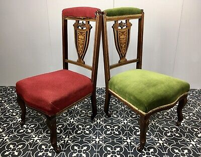Pair Of Antique Inlaid Bedroom Chairs With Wheels