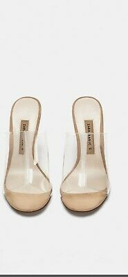 fec92a7570f Zara Brand New Clear Vinyl Mules With Clear Methacrylate Heels Size Uk 9 Eu  42
