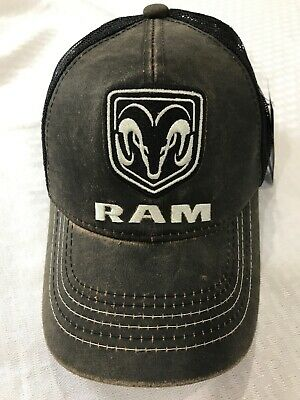 d2539c8f Dodge Ram Truck Black Baseball Cap Trucker Hat Trucks Hemi New Leather Look