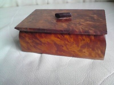 Vintage Beautiful Hand Crafted  Burr Wood Wooden Box.