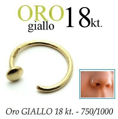 Piercing NASO cerchio anello ORO GIALLO 750% 18kt. nose ring yellow GOLD 18kt.