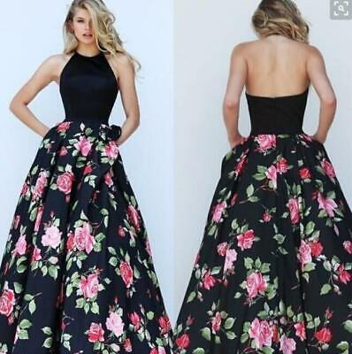 Ladies Halter Floral Printed Sleeveless Backless Long Swing Weding Party Dresses