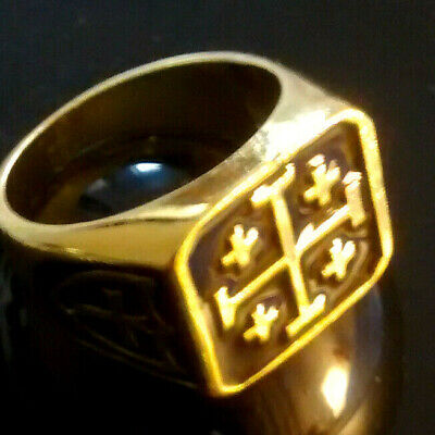 MASONIC Gold Plated Ring-----THE REAL TEMPLAR CROSS----  Size  V-1/2 Regalia