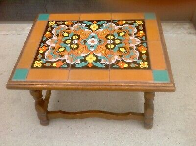 VINTAGE CALIFORNIA POTTERY TILE TOP TABLE TAYLOR PERSIAN RUG PATTERN 1930's