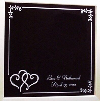 Scribble Hearts Etched Wedding Mirror Wood Frame Personalized Custom Names Date