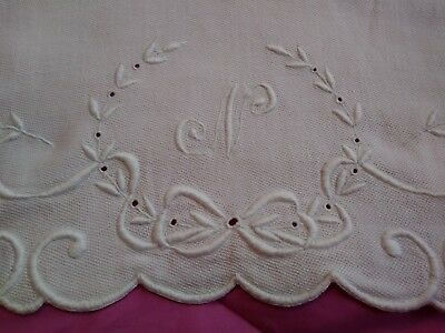 "Amazing Madeira Embroidered Damask Linen Show Towel 38"" by 25""  Initial N"