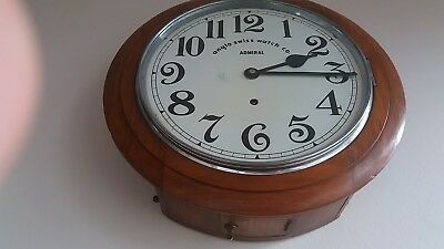 """Anglo Swiss Watch Co"" Admiral model. Railway/school  antique wall clock.working"