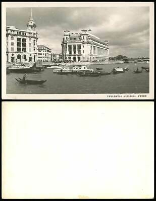SINGAPORE OLD POSTCARD Fullerton Building G P O  Boats Food Supplies  Fitzpatrick