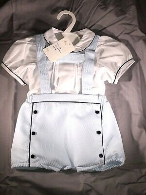 Baby Boys Spanish Romper Dungarees Blue 0-24 Mth RRP £65 100% Cotton Traditional