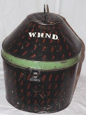Vintage Painted Metal Hat Box Alkit Ltd Cambridge Circus Rare Carrier