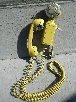 Very Rare Yellow Space Saver 211 Rotary Wall Phone & 685A Ringer Box