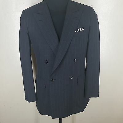 CHESTER BARRIE Double Breasted Wool Sport Coat Side Vents Made In U.K.  38 Reg