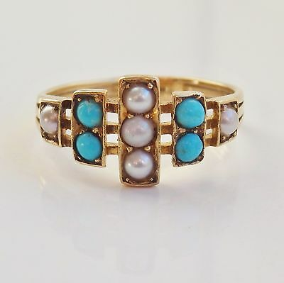 Stunning Antique Victorian 18ct Gold Turquoise & Pearl Ring c1890; UK Size 'O'