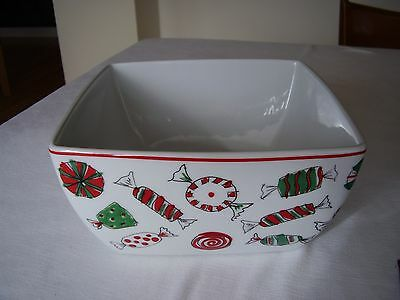 """Food Network Holiday Treats Candy Design  8 1/2"""" Square Deep Bowl FREE SHIPPING."""
