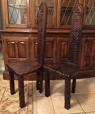 Antique Set King Queen Castle Style Chairs Estate Find WOOD CHAIR FURNITURE ART