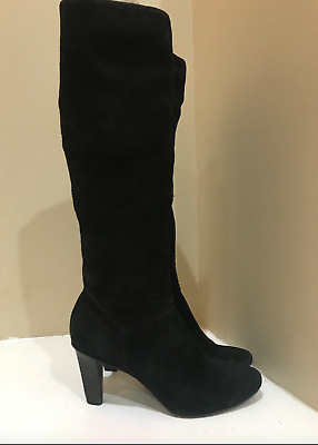 9e43f62f8f6 Coach Boots Black Suede Tall Knee High Pull On Heeled 7.5 Leather Heels