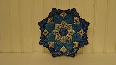 "Amazing Persian Handcrafted Metal/Copper Enamel Plate Wall Decoration 6.4""x6.4"""