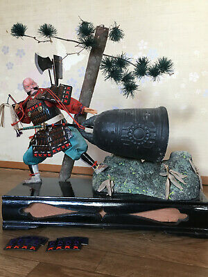 BENKEI Japanese Antique NINGYO Doll Warrior Monk SAMURAI Armor YOROI Bell