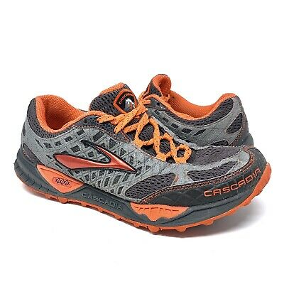 3636bcaea0452 BROOKS CASCADIA 7 Men s Trail Running Mesh Shoes Training Orange Grey Sz 9.5