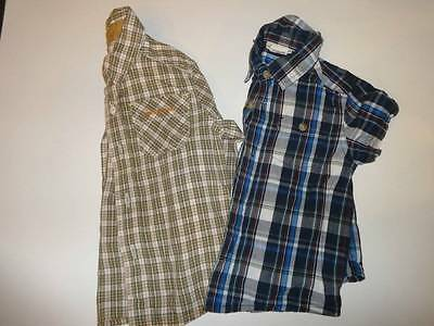 Cherokee Genuine Kids Boy Infant Plaid Shirt Lot 2 Shirts 18 Mos. Blue Tan
