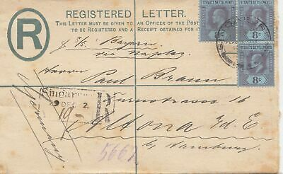 Singapore: 1903: registered letter to Altona