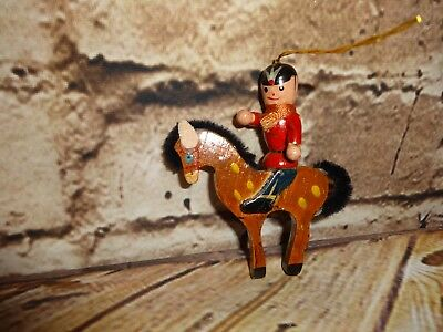 Vintage Wooden Wood Horse on Soldier Christmas Tree Ornament Holiday Decoration