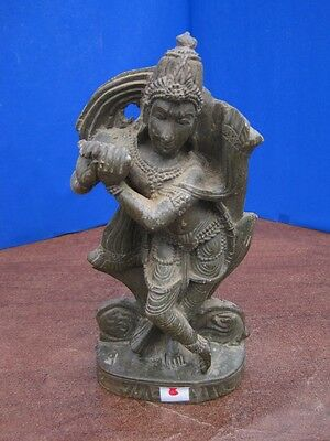 Antique Old Rare Hand Carved Stone Collectible Religious Hindu God Krishna MURTI