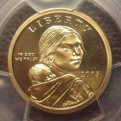 2005 S Deep Cameo Proof Sacagawea Dollar, Great Detail, Pcgs Graded Pr69Dcam