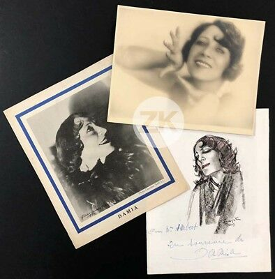 DAMIA Chanteuse PHOTO Krull AUTOGRAPHE Foujita 3 Docs 1930s