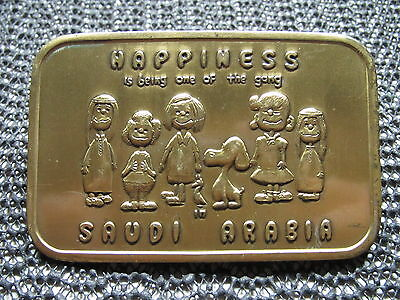 Snoopy Happiness Is Being One Of The Gang In Saudi Arabia Belt Buckle! Vintage!