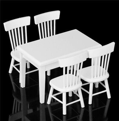 1:12 Dollhouse Miniature Furniture White Dining Room 1 Table 4 Chairs 5pc Set