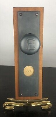 Salvaged Equitable Of Iowa Antique Cast Steel Letter E Door Knob & Back plate
