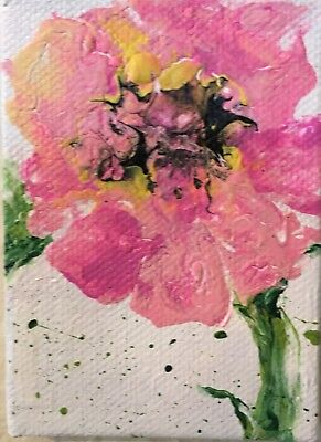 Aceo Acrylic Painting~ -Pink Flower~Artist~Marina Del Rey~Original