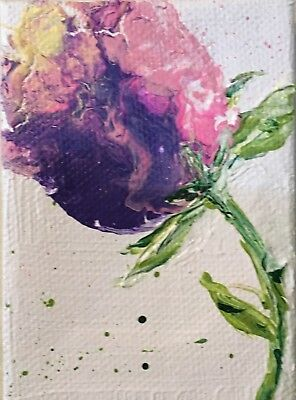 Aceo Acrylic Painting~ -Purple Flower~Artist~Marina Del Rey~Original
