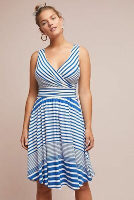 2b80b04ab4d1 NWT Anthropologie Kythira Striped Dress by Maeve Size M Blue Wrapped  Silhoutte