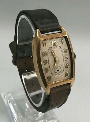 Vintage FG Art Deco Swiss Made 15 Jewels Gold Plate Cushion Tank Wrist Watch
