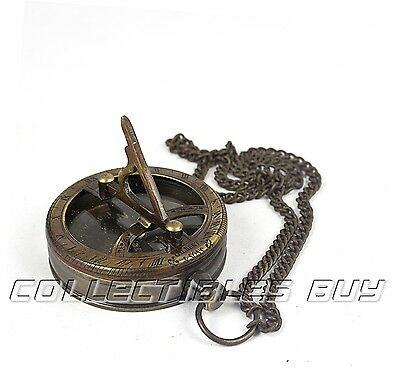 Nautical Maritime Device Pocket Antique Brass Sundial Gilbert Chain Compass