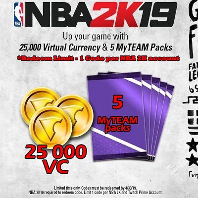 NBA 2K19 - 5 MyTEAM Packs & 25000 Virtual Currency Twitch Promo (PC/PS4/XBOX/NS)