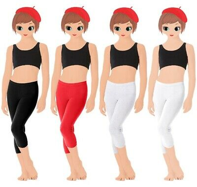 New Girl Child 3/4 Cropped Cotton Leggings Length Black Red White Grey 1-13Years