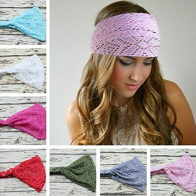 Wide lace headband elastic bandana turban hair band ladies summer sport.  04