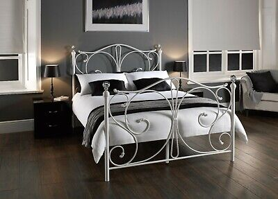 Florence Crystal Finial Metal Bed Black or White, Single, Double, Kingsize