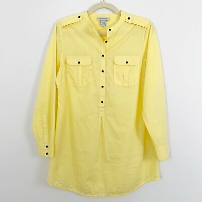 4a89cd3d8a8 SOFT SURROUNDINGS Yellow Popover Tunic Size Small Cotton 1/2 Button Long  Slvs
