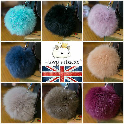 Bag Charm Pompom Furry Friends Ball Real Fur 8cm Ball Pom Pom Fluff Round Dangle