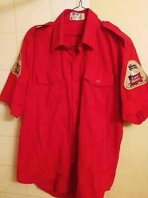 Vintage CAMP SNOOPY KNOTTS BERRY FARM UNIFORM SHIRT RED MEDIUM COLLECTIBLE #PD