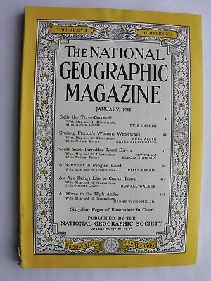 NATIONAL GEOGRAPHIC January 1955 Sicily New Hebrides Land Divers Canton Island