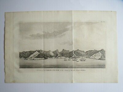 Antique Anson Nautical Map 1748 ..CUMBERLAND BAY at the island of JUAN FENANDES
