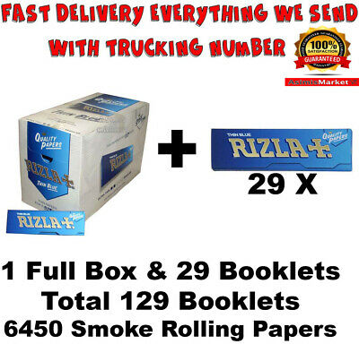 Rizla Blue Smoking Rolling Papers FULL BOX Of 100 Booklets Regular Size Original