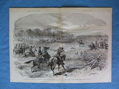 # 1885 Civil War Print- Capture of 62 Rangers By 66th New York Cavalry, Virginia